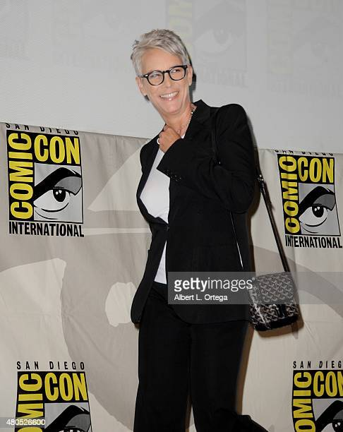 Actress Jamie Lee Curtis walks onstage at the 'American Horror Story' and 'Scream Queens' panel during ComicCon International 2015 at the San Diego...