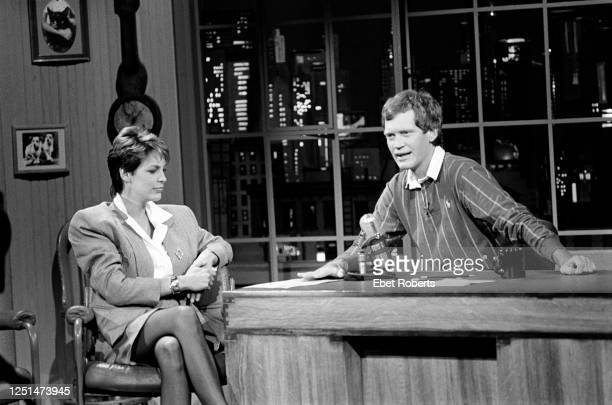 Actress Jamie Lee Curtis with David Letterman on the set of 'Late Night with David Letterman' in New York City on January 25 1984