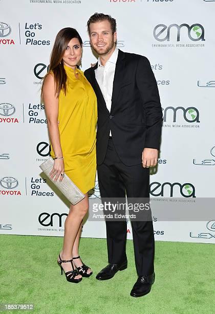 Actress JamieLynn Sigler and Cutter Dykstra arrive at the 2013 Environmental Media Awards at Warner Bros Studios on October 19 2013 in Burbank...