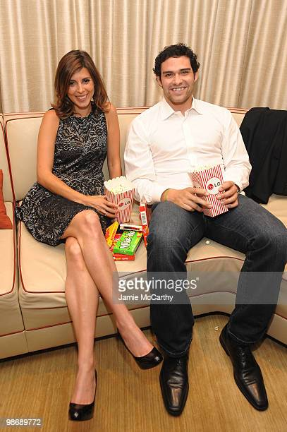 Actress JamieLynn Sigler and Mark Sanchez of the New York Jets attend LG Infinia LED Premiere Screening of 'Keep Surfing' during the 2010 Tribeca...