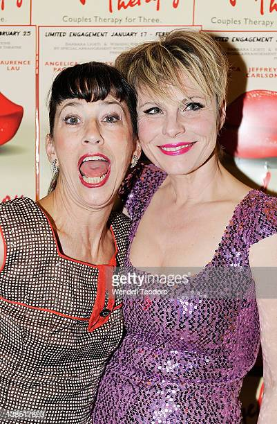 Actress Jan Leslie Harding and Angelica Page and attends the 'Psycho Therapy' opening night at the Cherry Lane Theatre on February 7 2012 in New York...