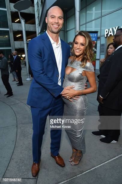 Actress Jana Kramer and Mike Caussin attend the Los Angeles Premiere of Support The Girls on August 22 2018 in Los Angeles California