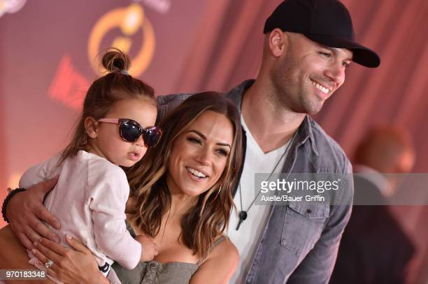 Actress Jana Kramer Mike Caussin and daughter Jolie Rae Caussin attend the World Premiere of Disney and Pixar's 'Incredibles 2' on June 5 2018 in Los...