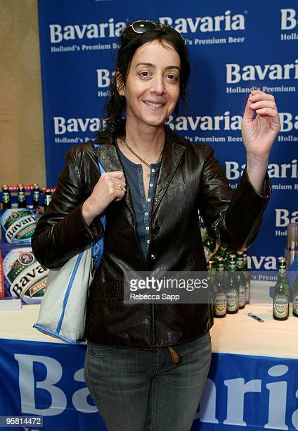 Actress Jane Adams poses at the Bavaria Holand's Premium Beer display during the HBO Luxury Lounge in honor of the 67th annual Golden Globe Awards...