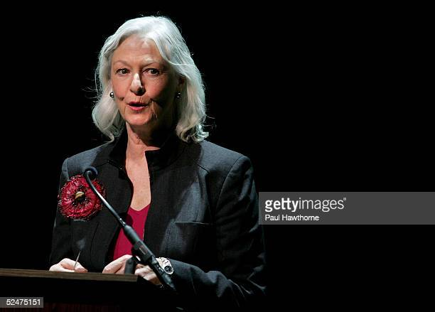 Actress Jane Alexander reads poems written by Jerry Orbach to his wife Elaine during a memorial for actor Jerry Orbach at the Richard Rodgers Theatre...