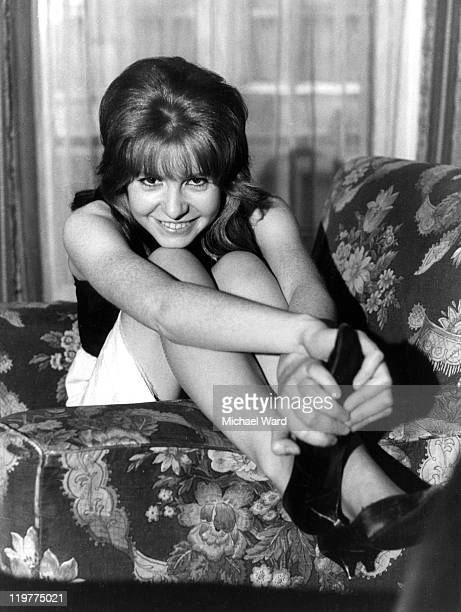 Actress Jane Asher posing on an armchair July 9th 1963
