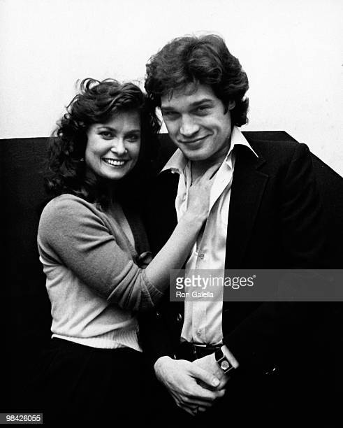 Actress Jane Badler and actor Jay Acovane attend Soap Opera Shindig Party on December 11 1981 at the Lone Star Cafe in Los Angeles California
