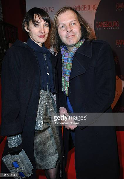 Actress Jane Balibar and singer Philippe Katerine poses before 'Gainsbourg ' Paris Premiere at Cinema Gaumont Opera on January 14 2010 in Paris France