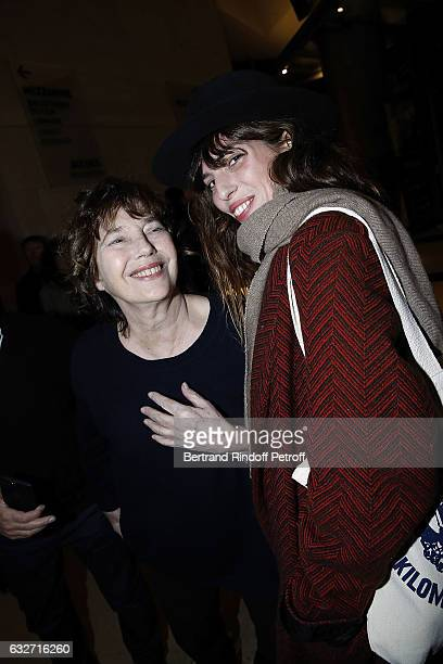 Actress Jane Birkin and her daughter actress Lou Doillon attend a Tribute to Jane Birkin at la Cinematheque on January 25 2017 in Paris France