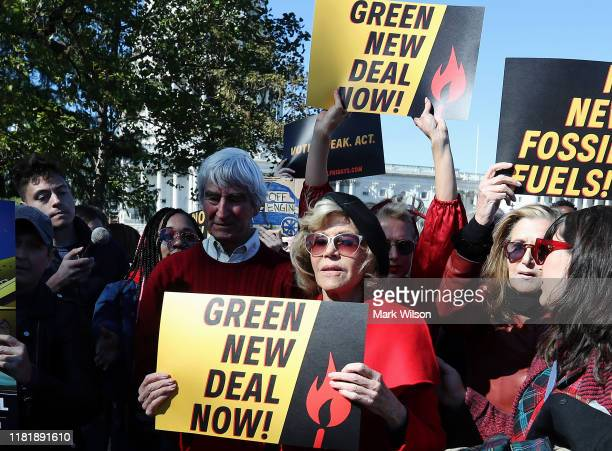 "Actress Jane Fonda and actor Sam Waterston participate in a protest in front of the US Capitol during a ""Fire Drill Fridays"" climate change protest..."
