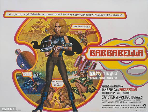 Actress Jane Fonda and David Hemmings appear on the poster for the Paramount Pictures film 'Barbarella 1968