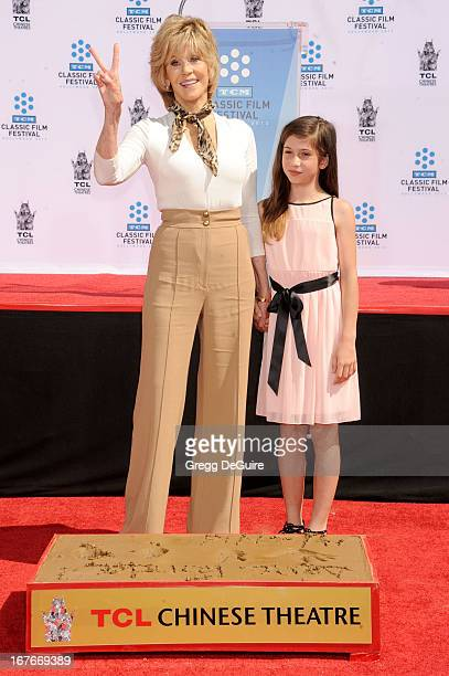 Actress Jane Fonda and granddaughter Viva Vadim pose at Jane Fonda's hand and footprints ceremony at TCL Chinese Theatre on April 27 2013 in...