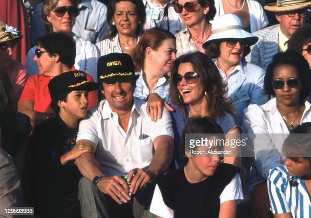 Actress Jane Fonda and her family await the launch of the Space Shuttle Challenger carrying the first woman astronaut Sally Ride into space Fonda and...
