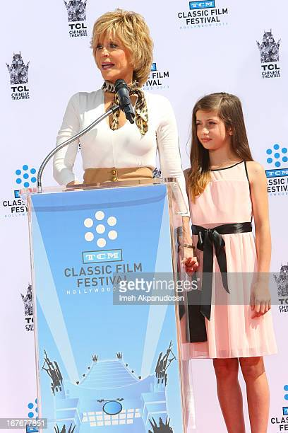 Actress Jane Fonda and her granddaughter Viva Vadim attend her hand and footprint ceremony at TCL Chinese Theatre on April 27 2013 in Hollywood...