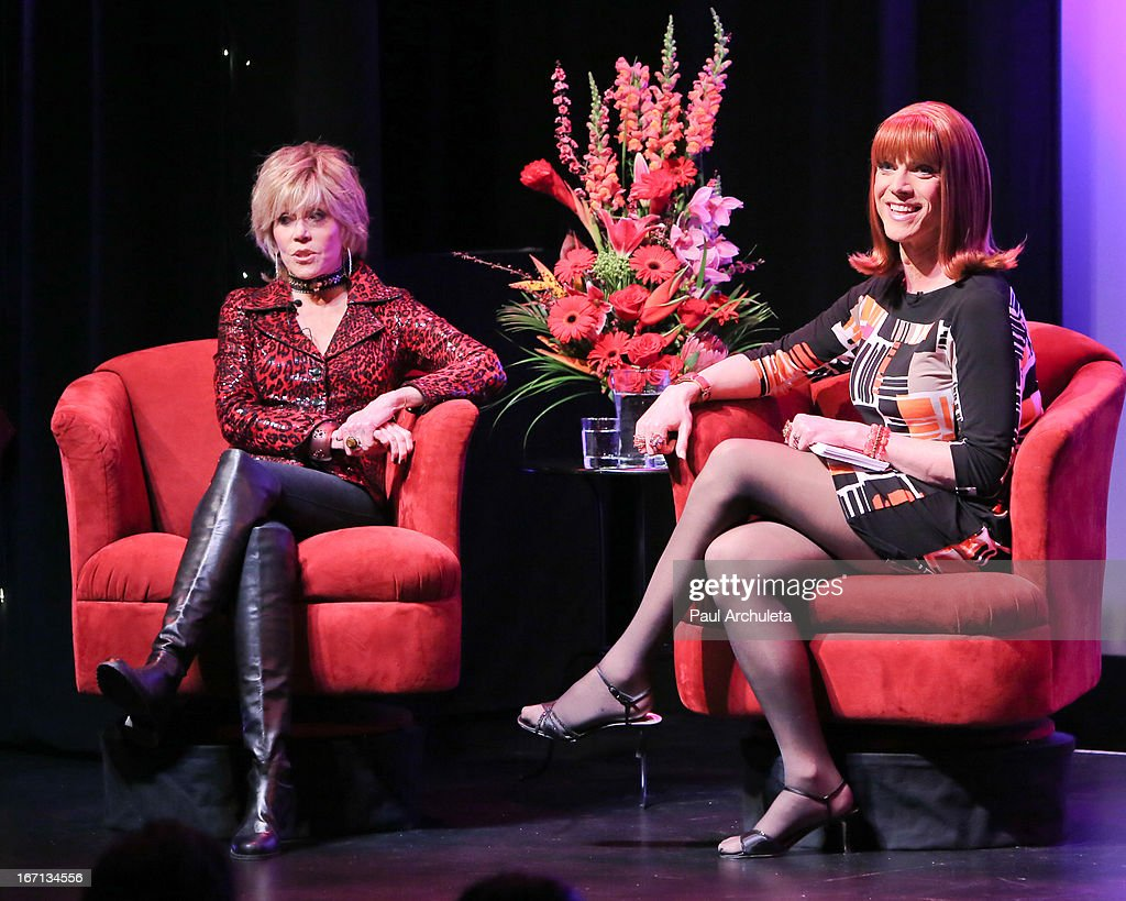 Actress Jane Fonda (L) and Miss Coco Peru (R) attends a 'Conversations With Coco' at the Gay & Lesbian Center on April 20, 2013 in Los Angeles, California.