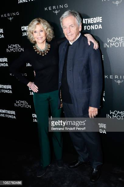 """Actress Jane Fonda and President of Cinematheque Francaise Constantin Costa-Gavras attend the Kering """"Women in Motion"""" Master Class With Jane Fonda..."""