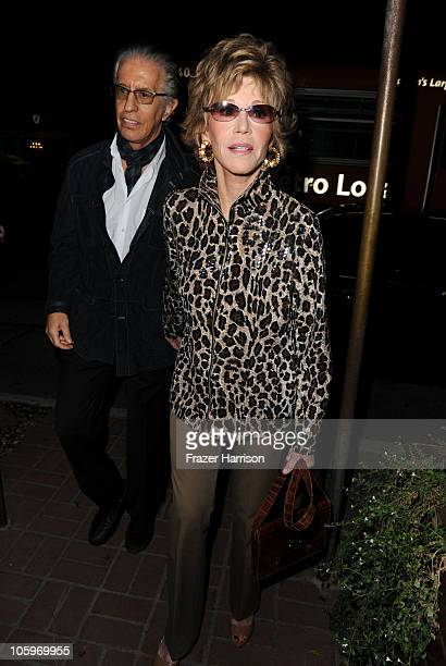 Actress Jane Fonda and record producer Richard Perry arrives at a launch party at for Rod Stewart's Album Fly Me To The Moon The Great American...