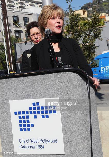 Actress Jane Fonda and West Hollywood Mayor Pro Tempore Abbe Land attend the kickoff for One Billion Rising in West Hollywood on February 14 2013 in...