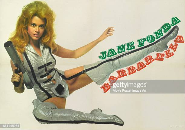 Actress Jane Fonda appears on an Italian poster for the 1968 science fiction fantasy film 'Barbarella' directed by Roger Vadim