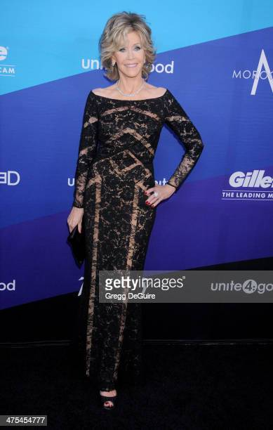 Actress Jane Fonda arrives at the 1st Annual Unite4humanity event hosted by Unite4good and Variety at Sony Studios on February 27 2014 in Los Angeles...