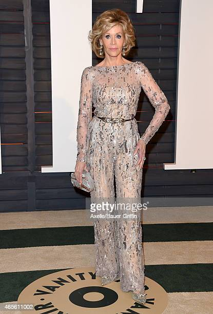 Actress Jane Fonda arrives at the 2015 Vanity Fair Oscar Party Hosted By Graydon Carter at Wallis Annenberg Center for the Performing Arts on...