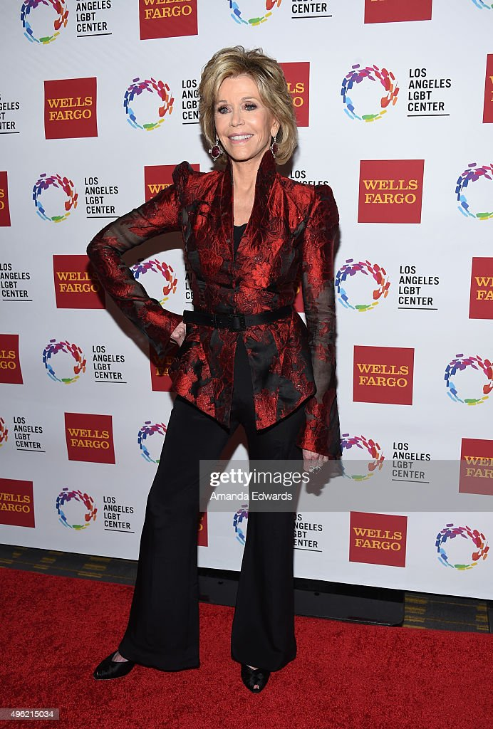 Actress Jane Fonda arrives at the 46th Anniversary Gala Vanguard Awards at the Hyatt Regency Century Plaza on November 7, 2015 in Los Angeles, California.