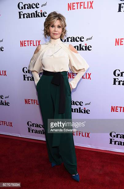 Actress Jane Fonda arrives at the Netflix Original Series Grace Frankie Season 2 premiere at the Harmony Gold Theater on May 1 2016 in Los Angeles...