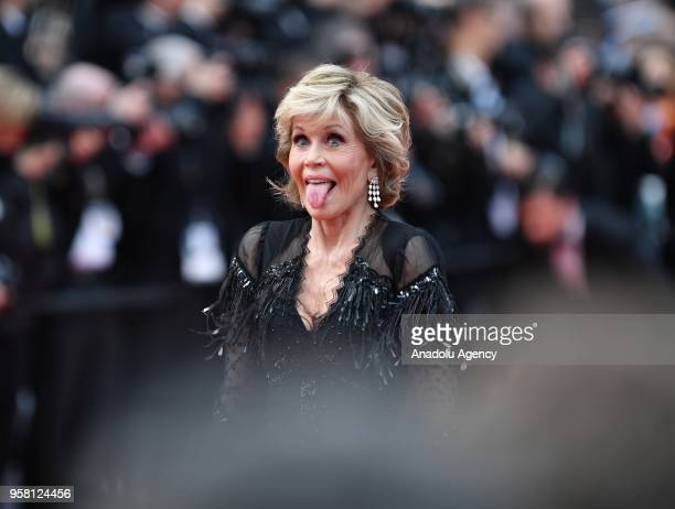 US actress Jane Fonda arrives for the screening of the film 'Sink Or Swim ' at the 71st Cannes Film Festival France on May 13 2018