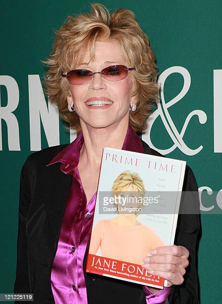 Actress Jane Fonda attends a signing for her book Prime Time Love Health Sex Fitness Friendship Spirit at Barnes Noble at The Grove on August 15 2011...