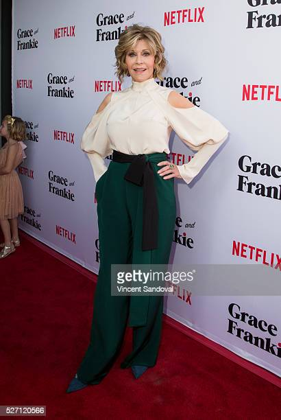 Actress Jane Fonda attends Netflix Original Series Grace Frankie season 2 premiere at Harmony Gold on May 1 2016 in Los Angeles California