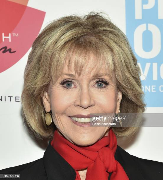 Actress Jane Fonda attends the 20th Anniversary of VDay at The Broad Stage on February 17 2018 in Santa Monica California