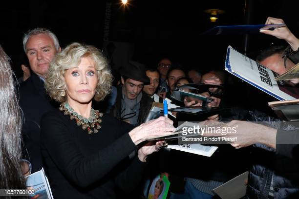 """Actress Jane Fonda attends the Kering """"Women in Motion"""" Master Class With Jane Fonda At La Cinematheque Francaise at la cinematheque on October 22,..."""