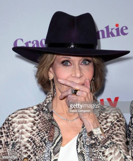 Actress Jane Fonda attends the premiere of Netflix's 'Grace and Frankie' Season 4 at ArcLight Cinemas on January 18 2018 in Culver City California