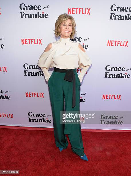Actress Jane Fonda attends the premiere of Season 2 of the Netflix Original Series Grace Frankie at Harmony Gold on May 1 2016 in Los Angeles...