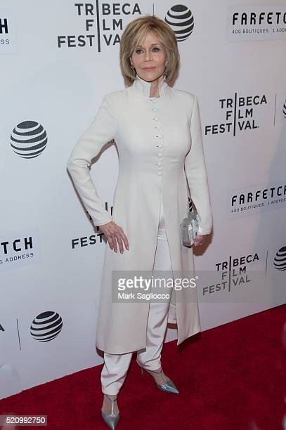 Actress Jane Fonda attends the 'The First Monday In May' world premiere at Tribeca Film Festival opening night at John Zuccotti Theater at BMCC...