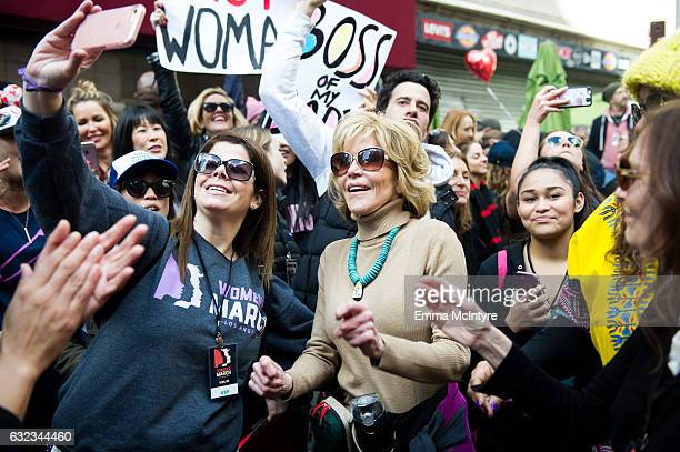 Actress Jane Fonda attends the women's march in Los Angeles on January 21 2017 in Los Angeles California