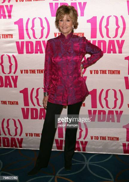Actress Jane Fonda attends V-Day's V to the Tenth: NYC - Kickoff to New Orleans at Hammerstein Ballroom on February 14, 2008 in New York City.
