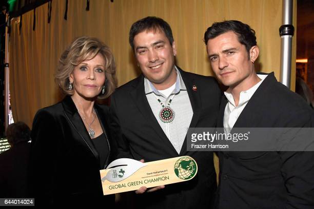 Actress Jane Fonda chairman Chad Harrison and actor Orlando Bloom attend the 14th Annual Global Green Pre Oscar Party at TAO Hollywood on February 22...