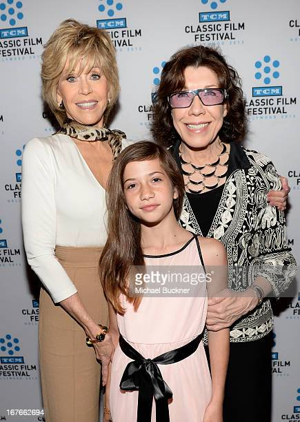 Actress Jane Fonda granddaughter Viva Vadim and actress Lily Tomlin attend actress Jane Fonda's Handprint/Footprint Ceremony during the 2013 TCM...