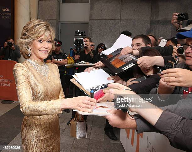Actress Jane Fonda greets fans at Fox Searchlight's 'Youth' Toronto International Film Festival special presentation on September 12 2015 in Toronto...