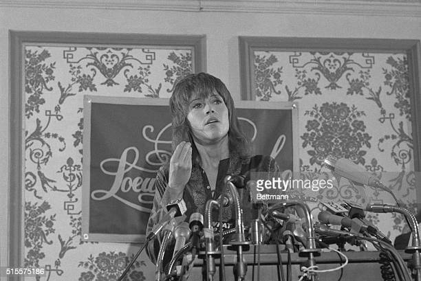 Actress Jane Fonda holds a press conference in New York July 28th to talk about her visit to North Vietnam I cried for America every day I was in...