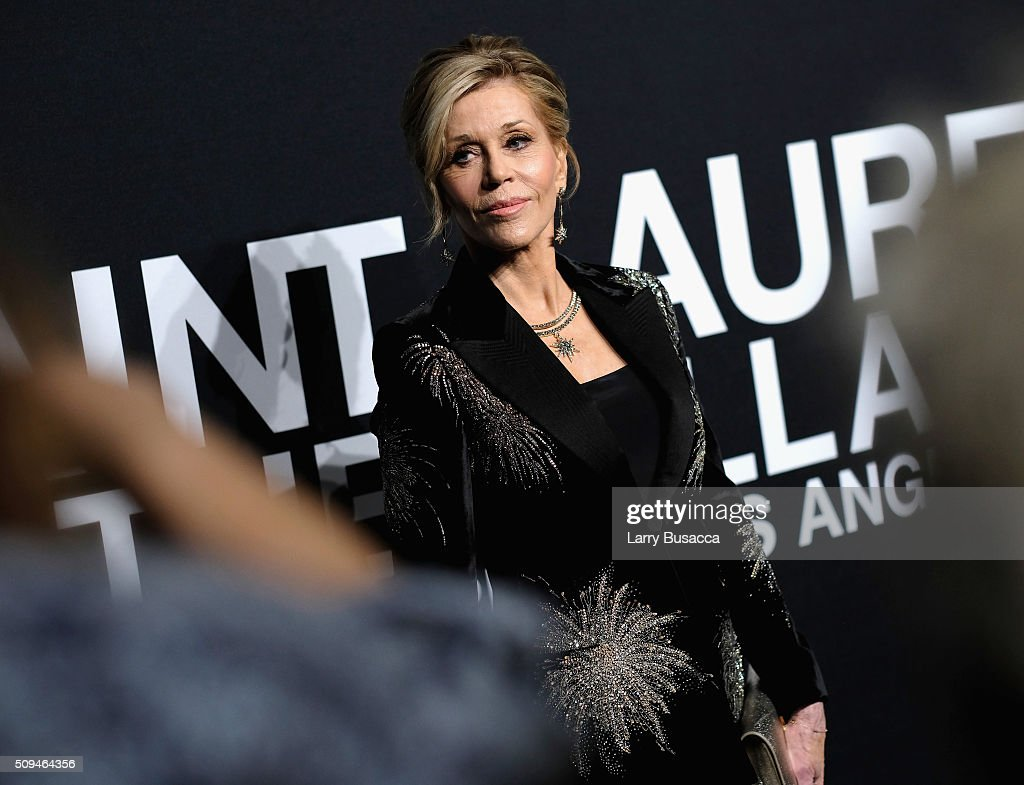 Actress Jane Fonda, in Saint Laurent by Hedi Slimane, attends Saint Laurent at the Palladium on February 10, 2016 in Los Angeles, California for the Saint Laurent Los Angeles show.
