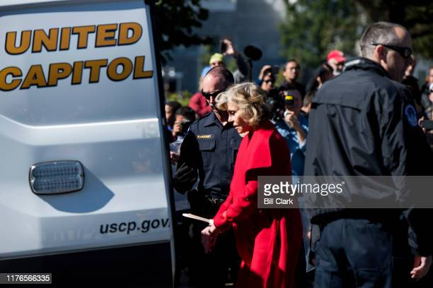 Actress Jane Fonda is arrested by US Capitol Police along with Sam Waterston and other climate activists after blocking 1st Street in front of the...