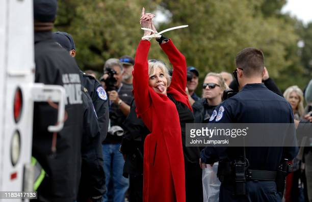 Actress Jane Fonda is arrested during the Fire Drill Friday Climate Change Protest on October 25 2019 in Washington DC Protesters demand Immediate...