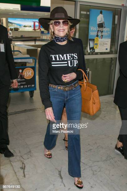Actress Jane Fonda is seen during the 71st annual Cannes Film Festival at Nice Airport on May 12 2018 in Nice France