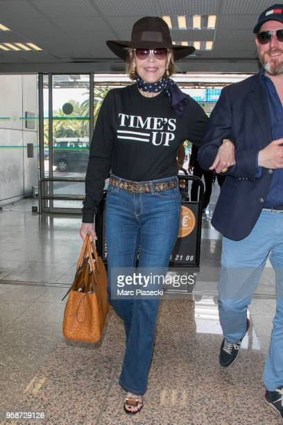 Actress Jane Fonda is seen during the 71st annual Cannes Film Festival at Nice Airport on May 15 2018 in Nice France