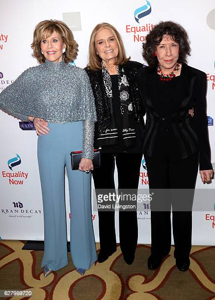 Actress Jane Fonda journalist Gloria Steinem and actress Lily Tomlin arrive at Equality Now's 3rd Annual Make Equality Reality Gala at Montage...