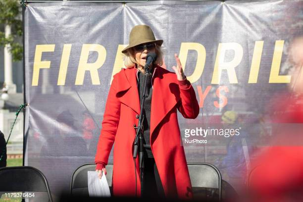 Actress Jane Fonda participates in a ''Fire Drill Fridays'' climate change protest on Capitol Hill in Washington DC November 1 2019