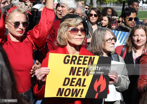 "Actress Jane Fonda participates in a protest in front of the US Capitol during a ""Fire Drill Fridays"" climate change protest and rally on Capitol..."