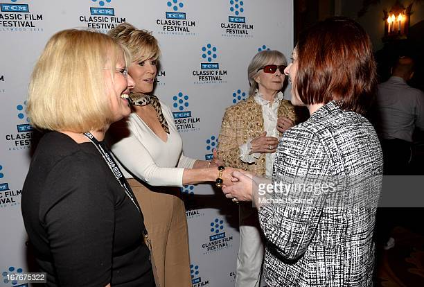 Actress `Jane Fonda Shirlee Mae Adams and TCM Managing Director Genevieve McGillicuddy attend actress Jane Fonda's Handprint/Footprint Ceremony...